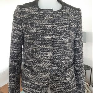 Ann Taylor 0P Tweed Blazer  Leather 0 Petite